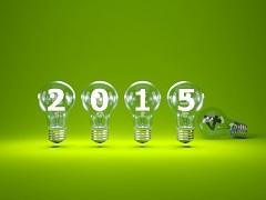 2015 New Year sign inside light bulbs